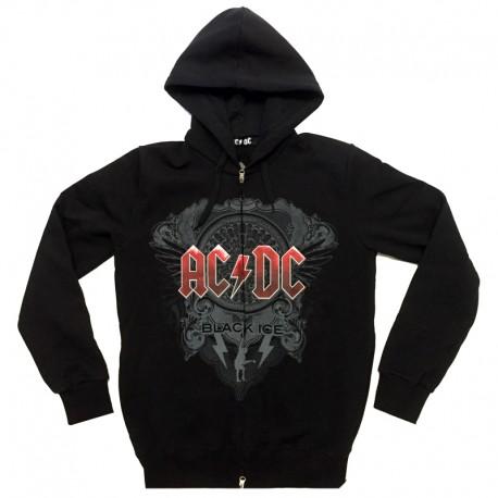 Felpa AC/DC ufficiale Black Ice con zip tasche e cappuccio nera