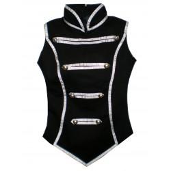 giacca smanicata nera e argento