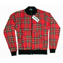 giacca scozzese tartan rosso con zip stile inglese