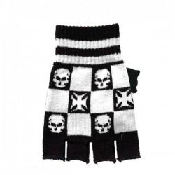 guanto in lana bianco e nero con teschi e croci
