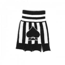 guanto in lana righe bianche e nere con asso di picche
