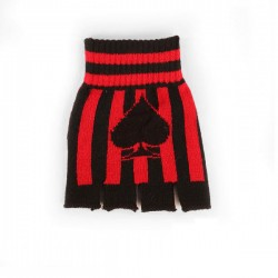 guanto in lana righe rosse e nere con asso di picche