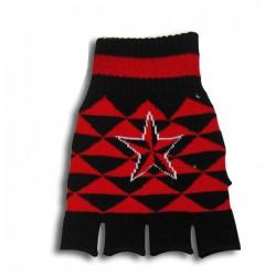 guanto in lana nero e rosso con stella