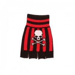 guanto in lana righe rosso e nero con teschio con ossa