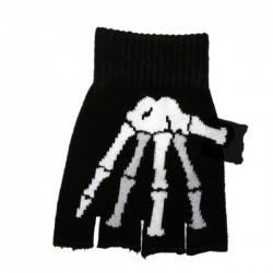 guanto in lana ossa scheletro bianco