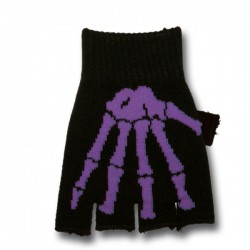 guanto in lana ossa scheletro viola