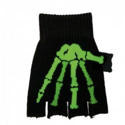 guanto in lana ossa scheletro verde
