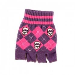 guanto in lana a rombi viola e fucsia con teschio e fiocco
