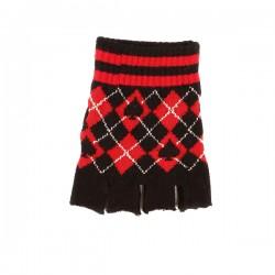guanto in lana a rombi rosso e nero