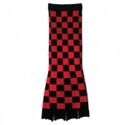 guanto in lana lungo scacchi rosso e nero