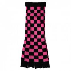 guanto in lana lungo scacchi fucsia e nero
