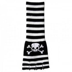 guanto in lana lungo righe bianco e nero con teschio e ossa