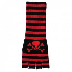 guanto in lana lungo righe rosso e nero con teschio e ossa
