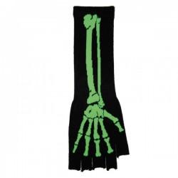 guanto in lana lungo ossa scheletro verde