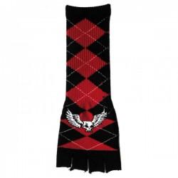 guanto in lana lungo rombi nero e rosso con teschio alato