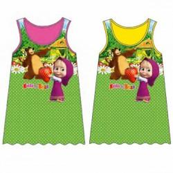 box da 10 pezzi vestito canotta masha e orso fragola fucsia e giallo con colori e taglie assortite