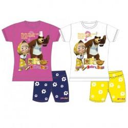 box da 10 pezzi set t-shirt m/c + pantaloncino masha e orso food fucsia e bianco con colori e taglie assortite