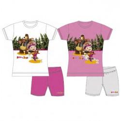box da 10 pezzi set t-shirt m/c + pantaloncino masha e orso chitarra bianco e rosa con colori e taglie assortite