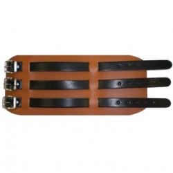 bracciale B in pelle marrone chiaro e nero