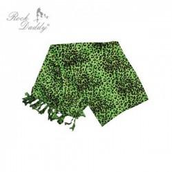 sciarpa in cotone leopardata verde