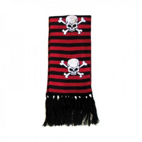 sciarpa teschio a righe rosso e nero