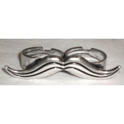 anello baffo color argento doppio