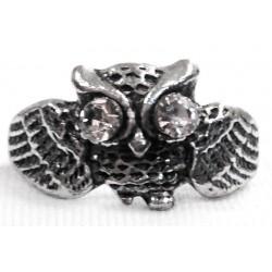 anello gufo piccolo ali aperte con strass