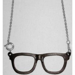ciondolo occhiali nero con catena