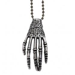 ciondolo mano scheletro con catena