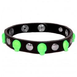 bracciale teschio verde con bottoni e rivetti