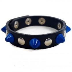bracciale cono blu con bottoni e rivetti