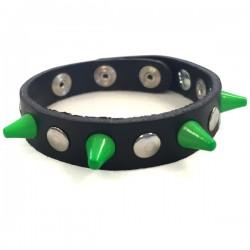 bracciale mini 1,3 cm verde con bottoni e rivetti
