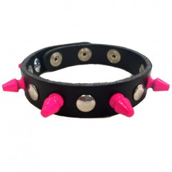 bracciale mini killer fucsia con bottoni e rivetti
