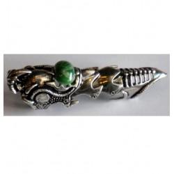 anello articolato lungo con pietra colorata verde