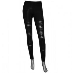 leggings nero con strappi