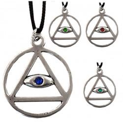ciondolo occhio con triangolo, cerchio e strass