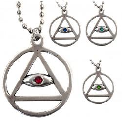 ciondolo occhio con cerchio e triangolo con catena