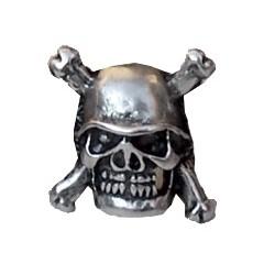 borchia teschio elmetto argento antico con vite