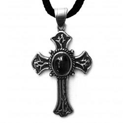 ciondolo croce gotica con pietra nera