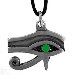 ciondolo occhio di horus con pietra verde