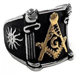 steel070 anello in acciaio simbolo massoneria dorato squadrato