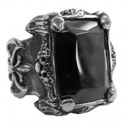steel079 anello in acciaio pietra gotica nera grande