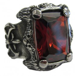 steel080 anello in acciaio pietra gotica rossa grande