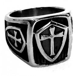 steel091 anello in acciaio stemma con croce