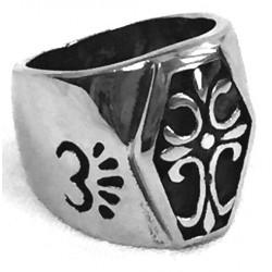 steel093 anello in acciaio croce gotica antica