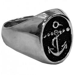 steel095 anello in acciaio ovale con ancora