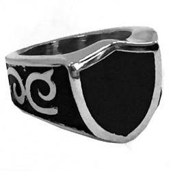 steel096 anello in acciaio stemma nero gotico