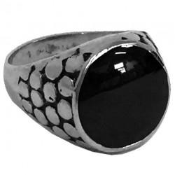 steel098 anello in acciaio occhio di drago nero