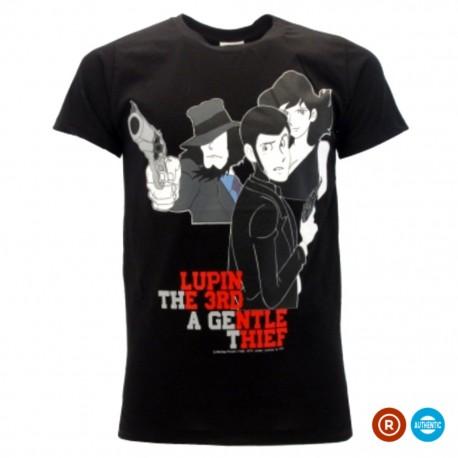 t-shirt ufficiale lupin con personaggi nera