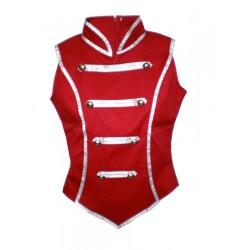giacca smanicata rosso e argento